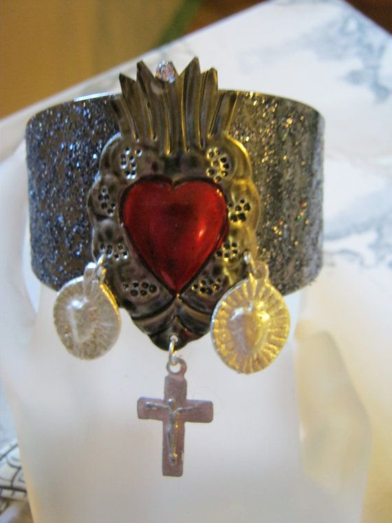 Sacred Heart Cuff by jansbeads on Etsy, $44.50