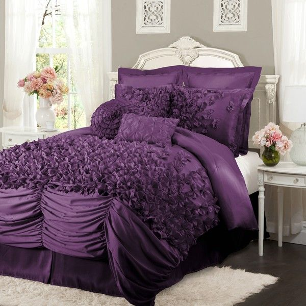 lush decor lucia purple bedding by lush decor bedding comforters comforter sets duvets. Black Bedroom Furniture Sets. Home Design Ideas