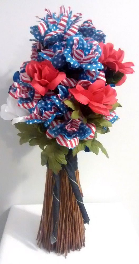 Handmade red white blue stars nstripes floral arrangement home decor