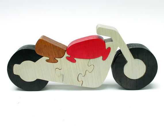 Motorcycle Decor and Puzzle Made from Wood от berkshirebowls