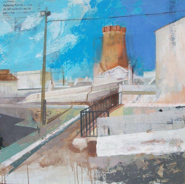 Urbana Rustica XVIII - Paterna / Collage + Acrílico 80 X 80 cm. Expuesta en: Concurso Pintura al aire libre Paterna.