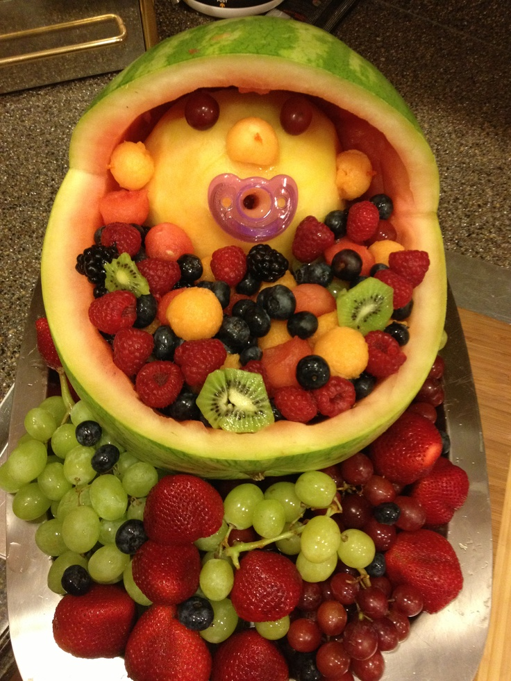Watermelon carriage fruit bowl for baby shower