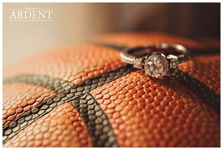 Laramie engagement photo with a basketball theme...
