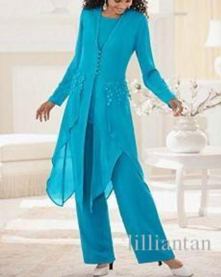 Purple Blue Chiffon Mother of the Bride Pants Suit With Long Jacket Lady Formal Dress Wedding Party Mother of the Groom Outfits