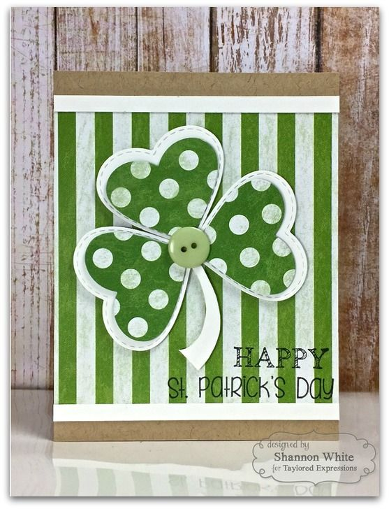handmade St. Patrick's Day card: May the Luck O' the Irish Be With You! ... green and white ...  large die shamrock  with embossed stich borders on heart shaped leaves ... luv the large dot and the wide striped papers ... from Taylored Expressions Blog
