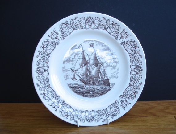 Vintage Wedgwood Plate of The Mayflower Sailing Ship Plymouth Pilgrim Fathers Decorative Wall Plate by FillyGumbo