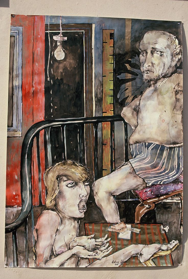 Couple,1992 by Antony Muia, MixedMediaonPaper, 87x56cm, Collection of the Art Gallery of WA