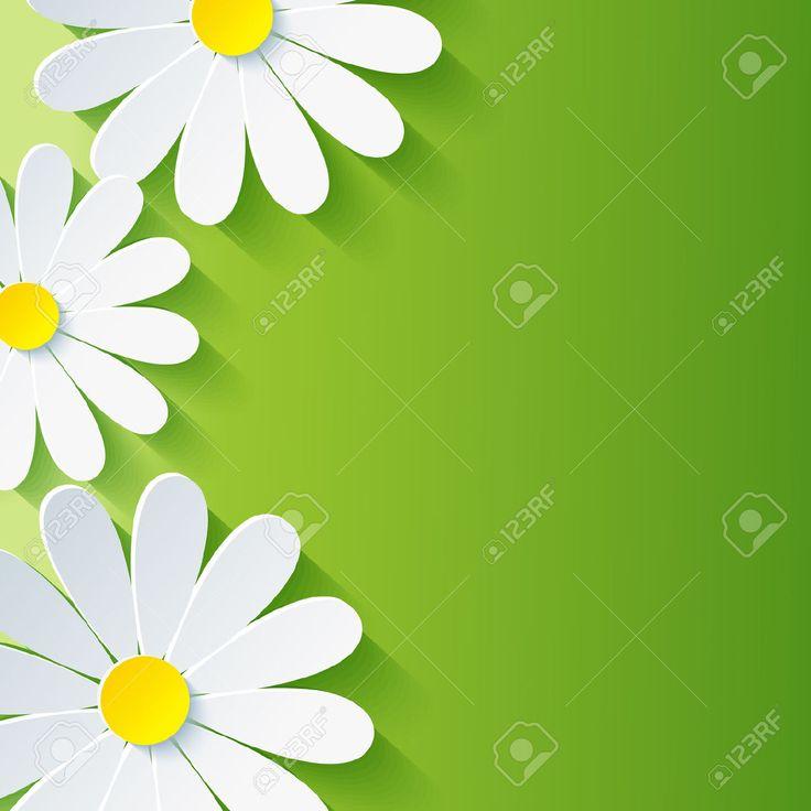Primavera De Fondo Floral Abstracto Con La Manzanilla Flor 3d Vector De Fondo Ilustraciones Vectoriales, Clip Art Vectorizado Libre De Derechos. Pic 23863509.