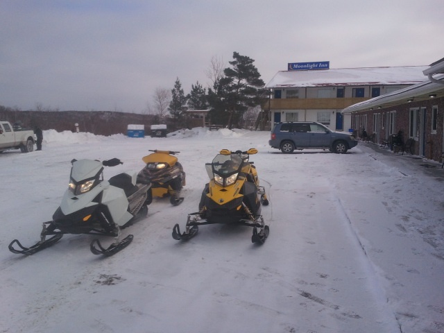 Ready to ride the trails from the Moonlight Inn and Suites Motel in Sudbury Ontario. Trail to Door.