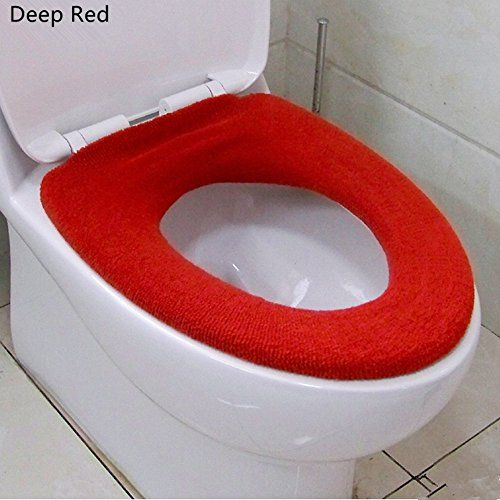 OUTUOU Toilet Seat Cover Soft and Warm Toilet Seat Cushion (Deep Red)…