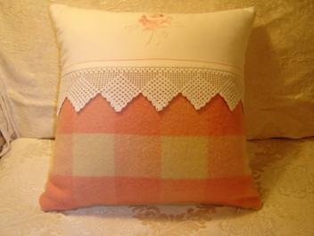 vintage linen and wool blanket cushion