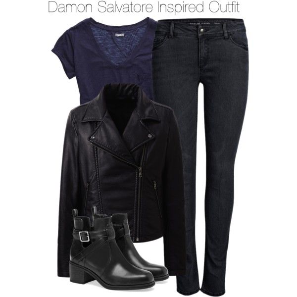 The Vampire Diaries - Damon Salvatore Inspired Outfit by staystronng on Polyvore featuring American Eagle Outfitters, Uniqlo, ONLY, Pull&Bear, DamonSalvatore, leatherjacket and tvd