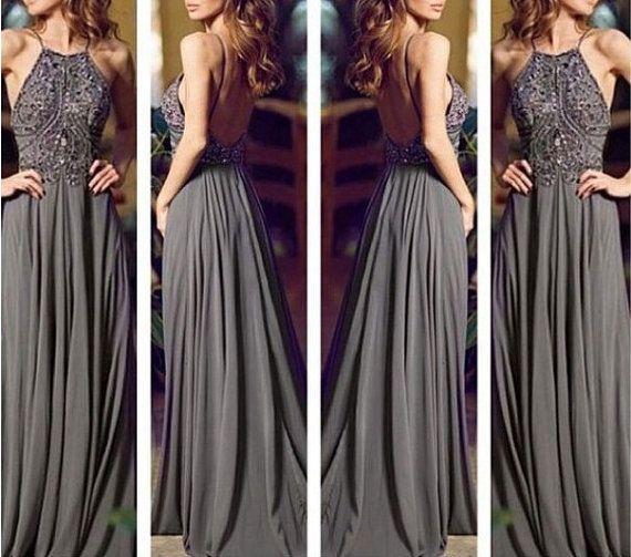 2014 Backless Gray Long Chiffon Bling Prom Dress/Prom Gown/Evening Dress/Evening Gown/Custom made dress/Formal Dress/Graduation Dress