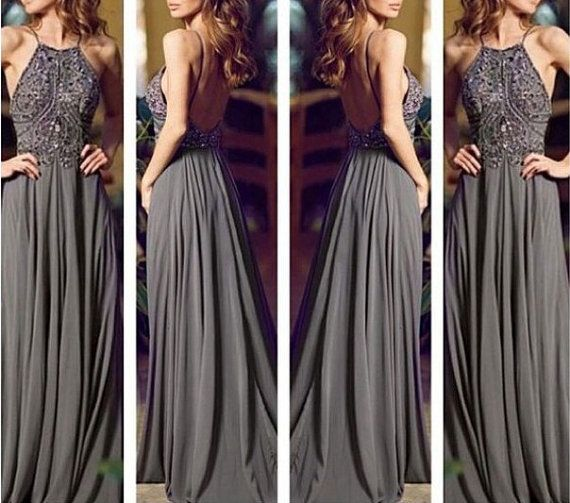 2014 Backless Gray Long Chiffon Bling Prom Dress/Prom Gown/Evening Dress/Evening Gown/Custom made dress/Formal Dress/Graduation Dress: