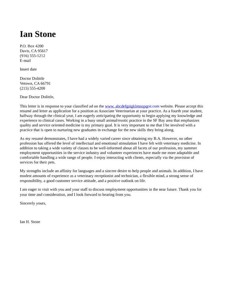 cover letter for resume veterinary technician write sample receptionist