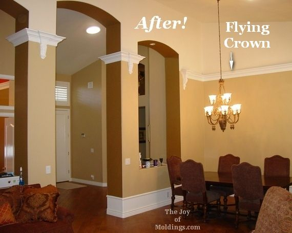 I 39 ve seen a lot of this floating crown molding helps Vaulted ceiling decorating ideas