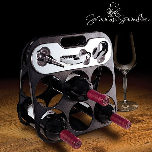 If you love wine, this folding Summum Sommelier bottle rack with wine accessories is perfect for you!