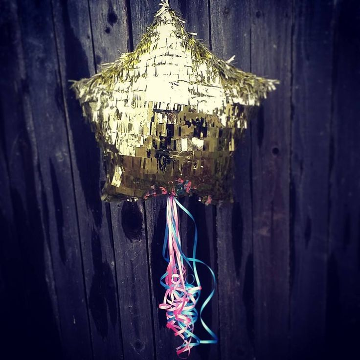 "Golden Star gender reveal pinata!  ""Twinkle Twinkle Little Star, how we wonder what you are!"""