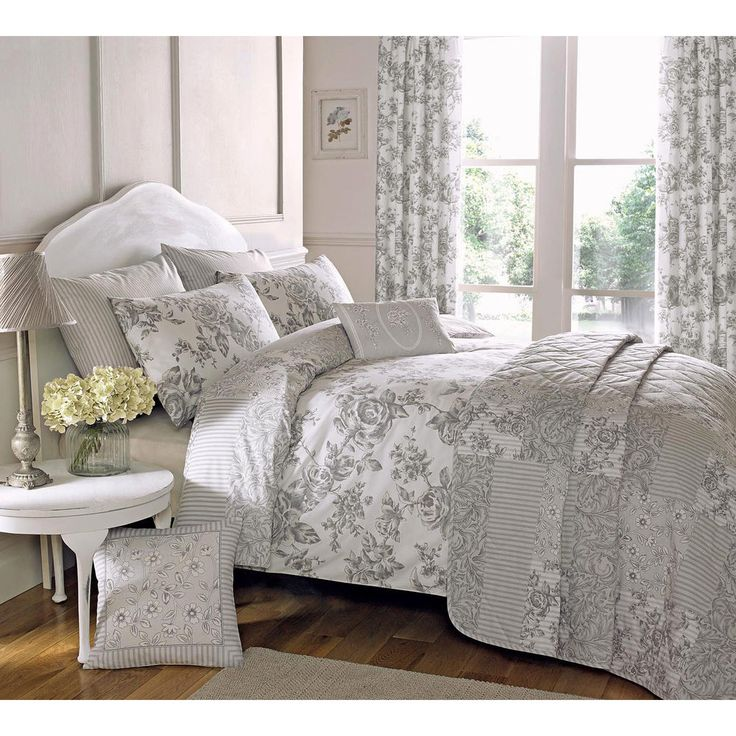 traditional toile duvet quilt cover floral bedding set in cream u0026 slate grey