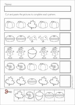 Math Worksheets & Activities - Autumn (Kindergarten). 45 pages. A page from the unit: Autumn Patterns cut and paste