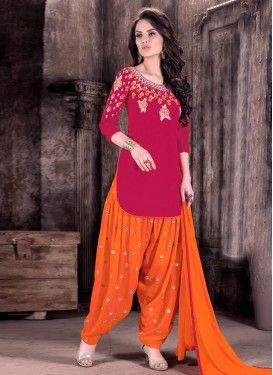 5329c31848 Lustrous Embroidered Work Cotton Semi Patiala Salwar Kameez For Ceremonial