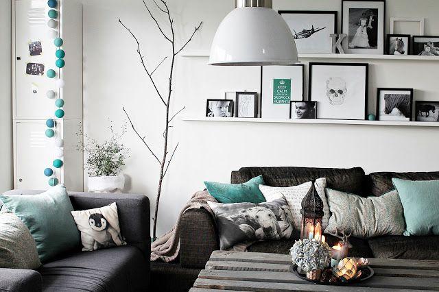 Una sala gris y menta - Casa Haus - Decoración