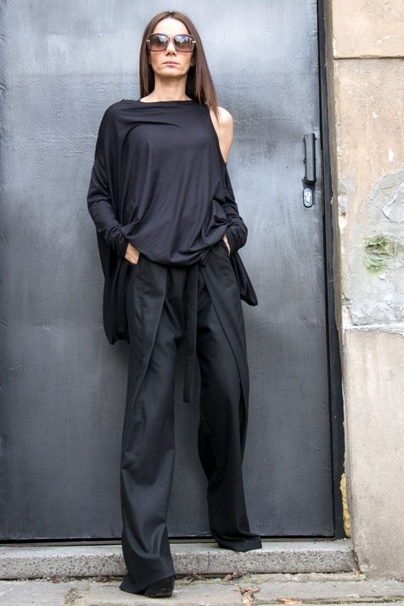 NEW Loose Black Pants / Wide Leg Pants Spring by Aakasha on Etsy