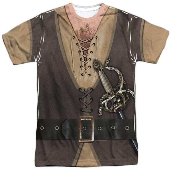 Behold the Princess Bride - Montoya Costume Sublimated T-Shirt. Now you can be part of the hype with this dye sublimated, officially licensed sublimated t-shirt made of 100% polyester. This sublimated t-shirt is perfect for a true Princess Bride fan. This garment is hand-printed on the front and back using a dye sublimation printing process. Each t-shirt is handmade and unique.   Remember production and shipping time prior to Halloween.