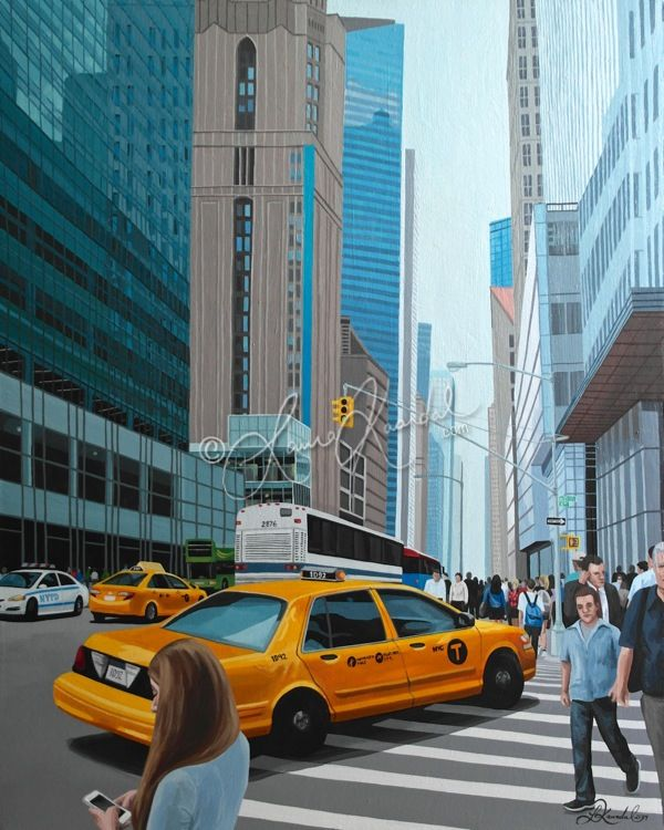 42nd St at 6th Avenue, NYC by Laura Kaardal, Acrylic on Canvas #NewYorkCity #blue #urban #cityscape #yellowcab #nytaxi