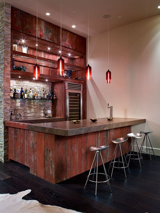 Great look for a home bar. The materials and design aren't too fussy so it won't over power the rest of the room.