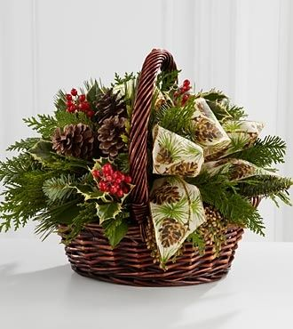 christmas basket holly | basket arrangement of fresh holly and fragrant everygreens accented ...
