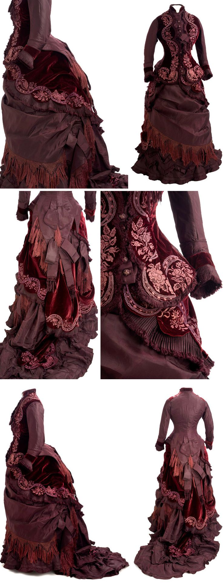 Reception gown, Jane E. Turner, New York, 1877. Two-piece dress of claret-colored velvet and taffeta with bustle and train. Self-covered buttons at center front with detail embroidery. Asymmetrically trimmed with draped swags, knotted cotton fringe and self-fabric bows. Hand- and machine-sewn. Miss Turner charged the client $128.33 for the dress, which she wore at a White House reception. Minnesota Historical Society