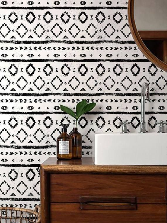 Monochrome Wallpaper/ Black and White Removable Wallpaper/ Self-adhesive Wallpaper / Aztec Pattern Wall Covering – 120