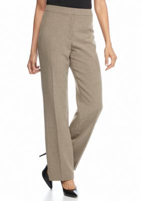 Kasper Women's Petite Flat Front Dress Pant - Brown - 14P