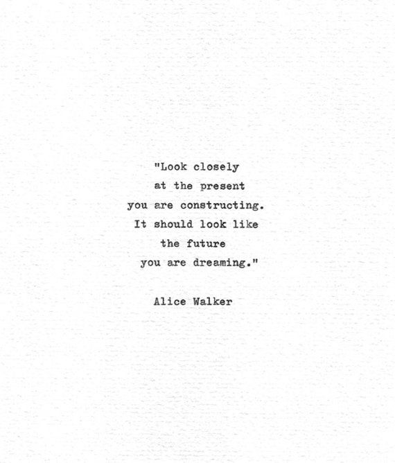 "Alice Walker Inspirational Quote ""…the future you are dreaming"" Vintage Typewriter Hand Typed Lite"