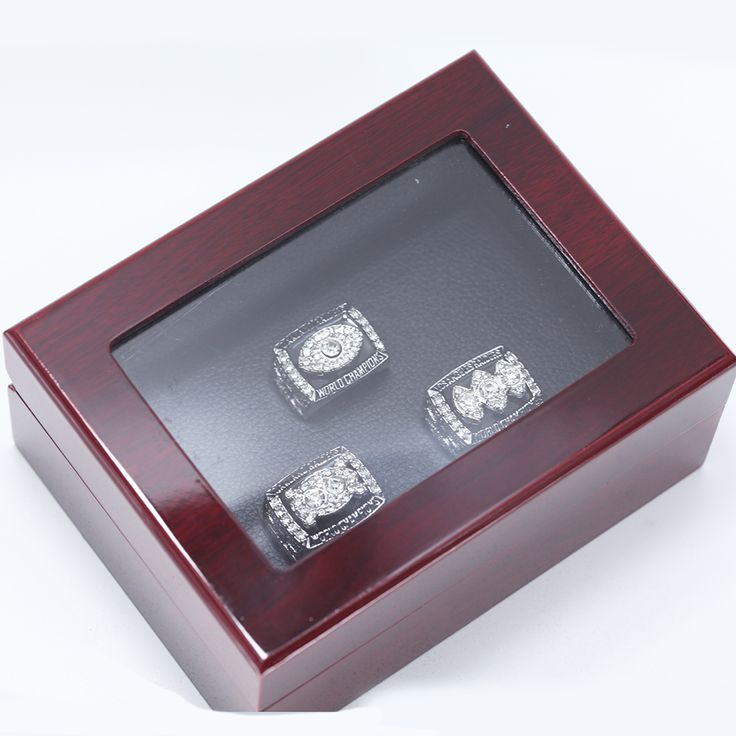 1976 1980 1983 OAKLAND RAIDERS SUPER BOWL CHAMPIONSHIP RING, 3 PCS RING SET COLLECTION WITH CLEAR TOP WOODEN BOX