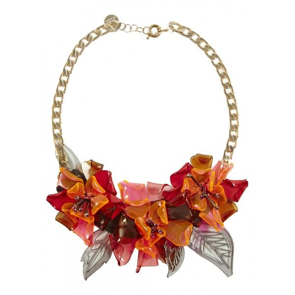 Matthew Williamson Perspex Floral Necklace ($280) ❤ liked on Polyvore featuring jewelry, necklaces, accessories, neon jewelry, floral necklace, bib statement necklace, flower jewelry and leaf necklace