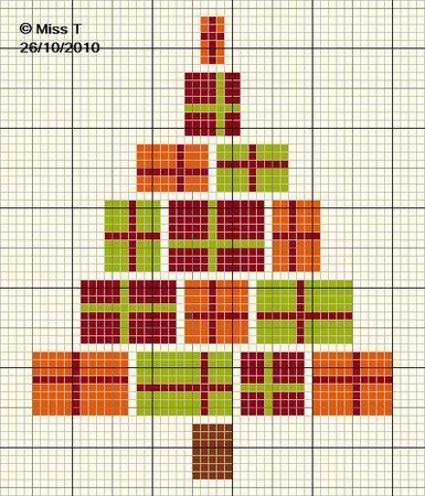 noël - christmas - sapin - cadeau - point de croix - cross stitch - Blog : http://broderiemimie44.canalblog.com/