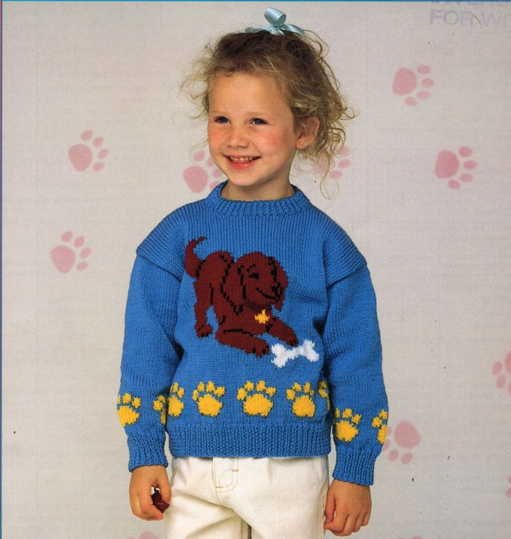 Knitting Patterns Childrens Jumpers : Childrens Sweater Knitting Pattern PDF childrens jumper puppy motif dog motif...