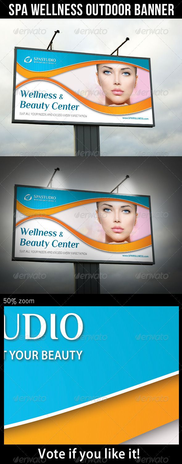 Spa Studio Outdoor Banner 09 — Photoshop PSD #outdoor advertising #wellness si...
