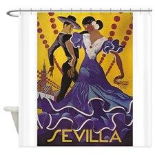 Sevilla, Spain Vintage Travel Poste Shower Curtain