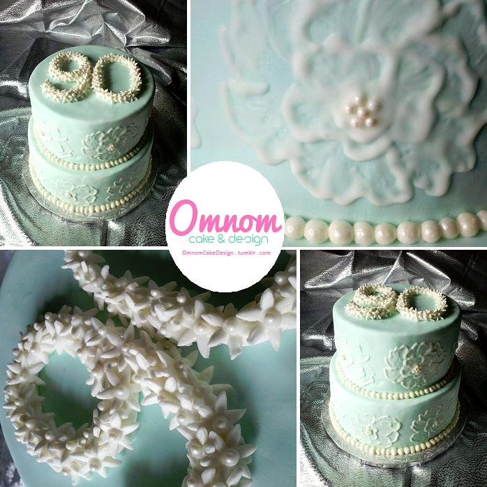 Free Hand Brush Embroidery 90th Birthday Cake
