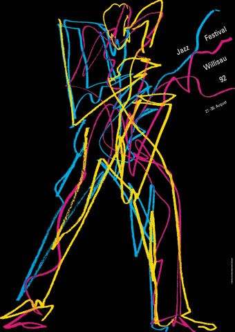 Willsau Jazz Festival (1992) poster design by Niklaus Troxler