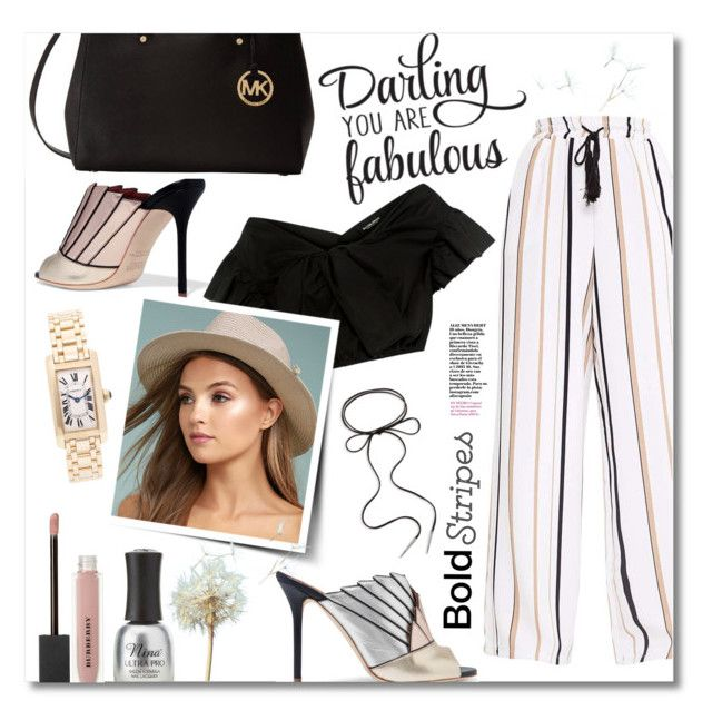 """""""Darling you are fabulous!"""" by ela79 ❤ liked on Polyvore featuring Charlotte Russe, Burberry, Malone Souliers, Rachel Comey, LULUS, Cartier, Michael Kors, WALL, Kendra Scott and mules"""