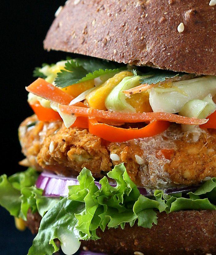 BBQ Lentil Veggie Burger with Mango Carrot Slaw. Vegan Recipe - Vegan Richa #vegan #burger