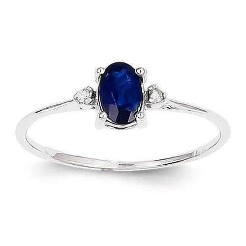 14k White Gold Diamond & Sapphire Birthstone Ring , - Sparkle & Jade - 1