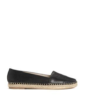 ALDO Oleawiel Black Leather Espadrille Flat Shoes