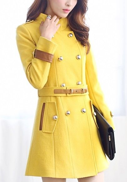 Charming  Woolen Double-breasted Overcoat With Belt Overcoats from fashionmia.com