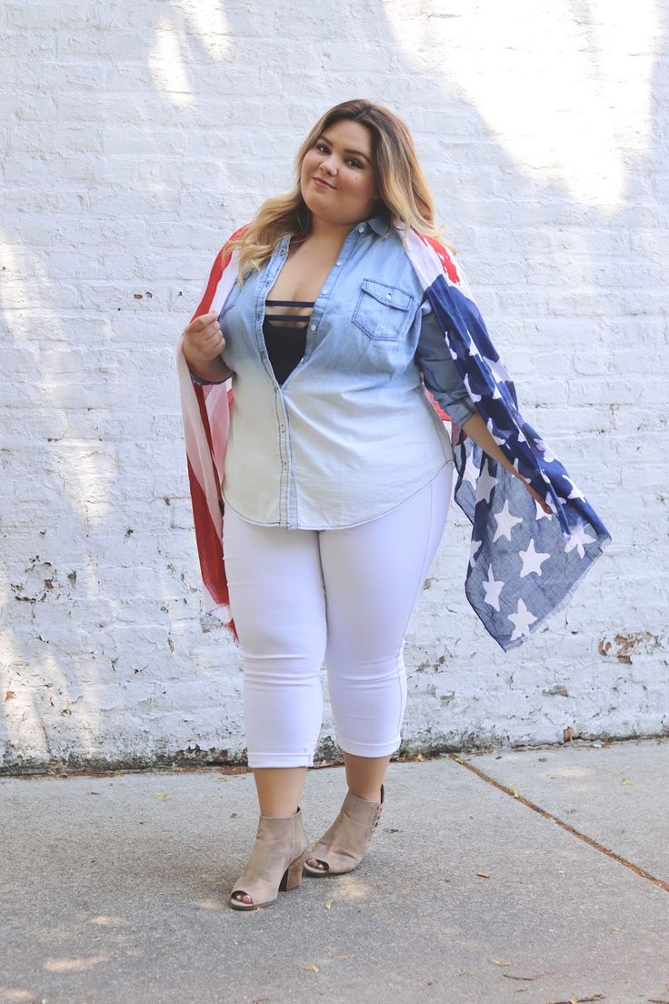 Need some 4th of july plus size outfit inspiration check out my latest post on natalie in the city where i pair a bralette a denim button up