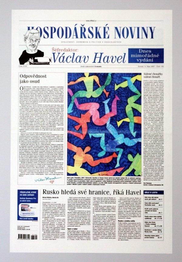4.10.2007 - Václav Havel se na jeden den stává šéfredaktorem Hospodářských novin